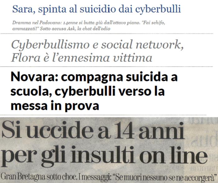 Casi di Cyberbullismo