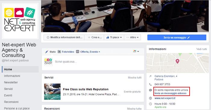 Tempo di risposta Facebook