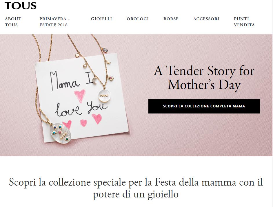 ecommerce festa della mamma 2018 tous